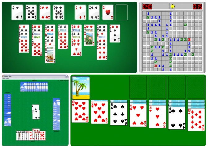 Фото: it.wikipedia.org, classic-solitaire-free-windows-8.en.softonic.com, freeminesweeper.org, codeproject.com