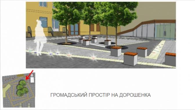 Дивись: як виглядатиме громадський простор у сквері на вулиці Дорошенка фото