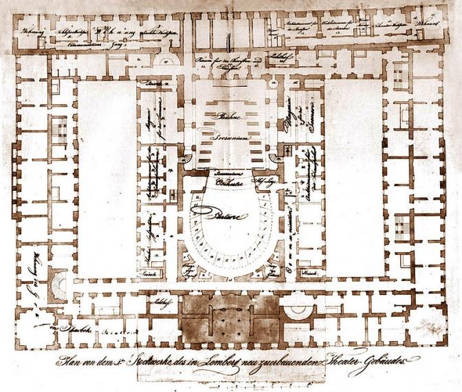 1842 р. План Скарбківського театру у Львові.